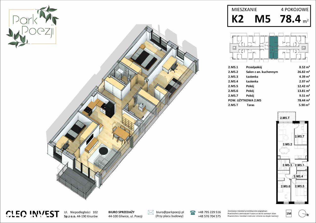Nowe mieszkanie 76m2, 4 pokoje, dwie łazienki
