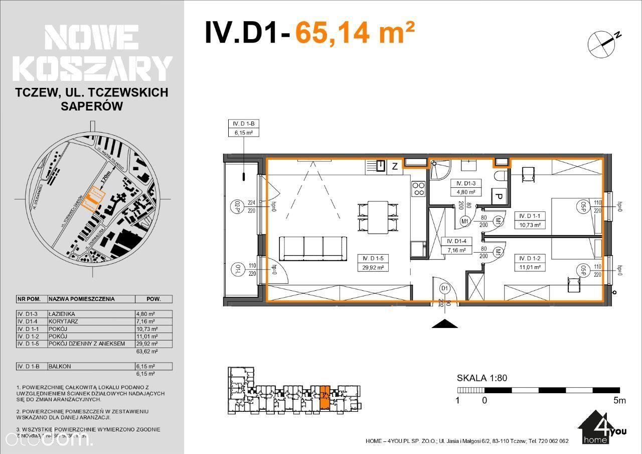 4D1 Etap II Trzypokojowe mieszkanie z balkonem