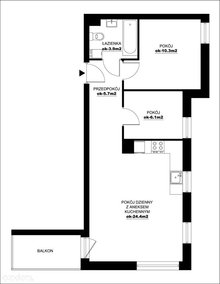 Mieszkanie, 50,41 m², Wieliczka
