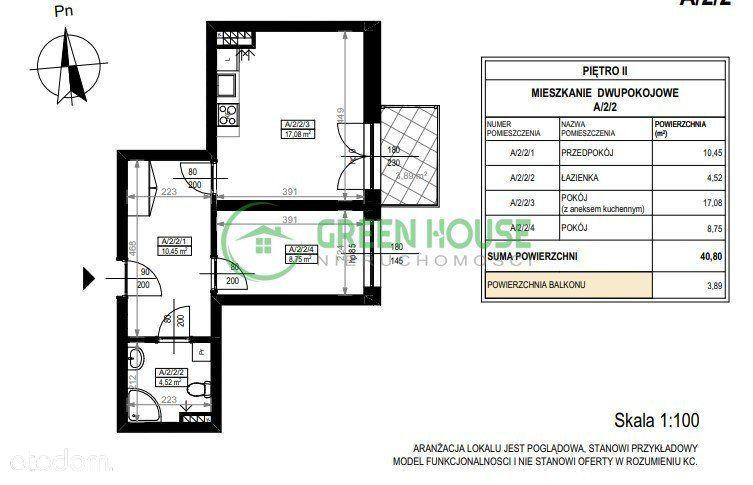 Mieszkanie 40,8 m2 z balkonem Bez Prowizji