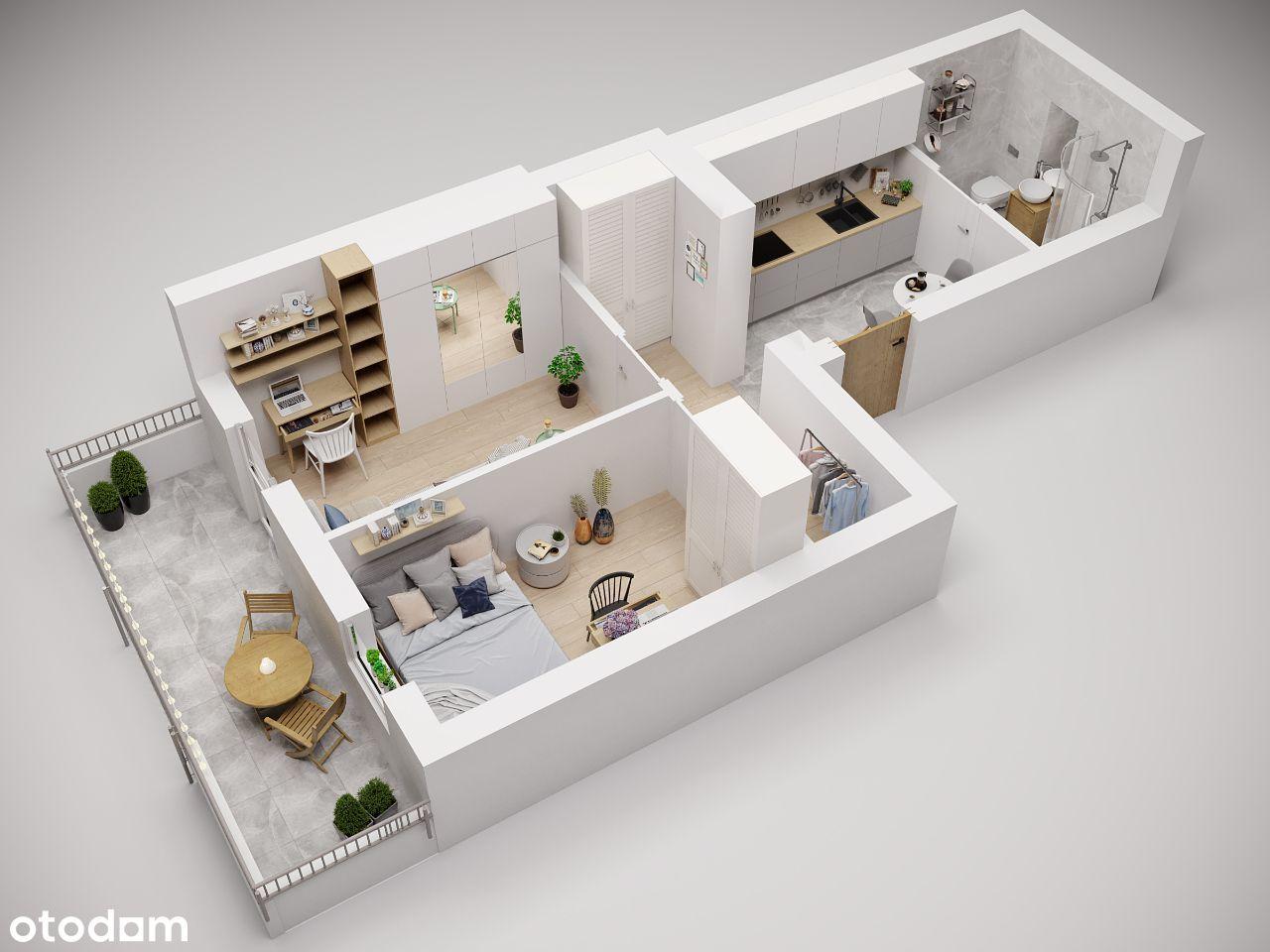 Mieszkanie 2 pokoje+aneks+ OGRÓDEK  Bronowice Małe