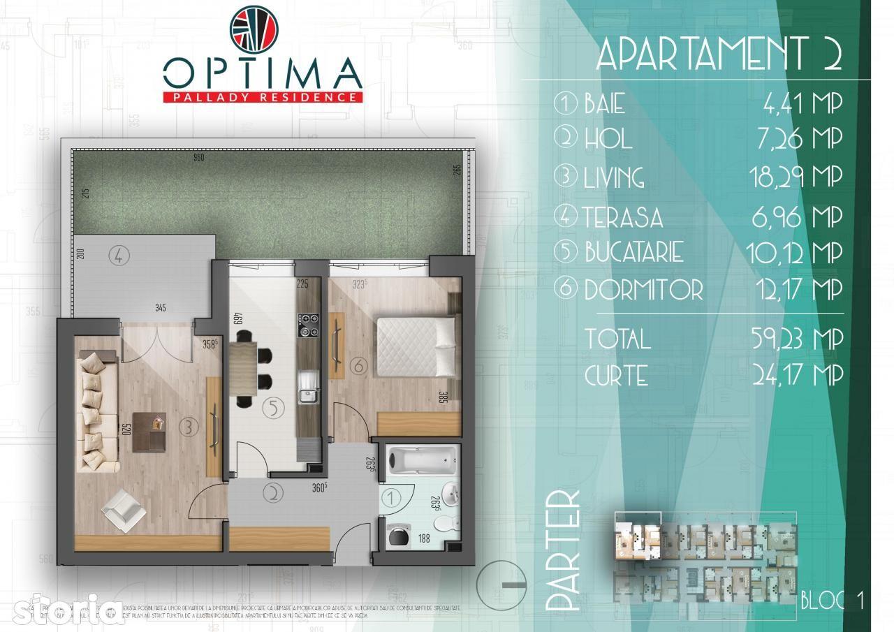 ap.2 camere+curte, parter,zona pallady,sector 3,pozite excelenta