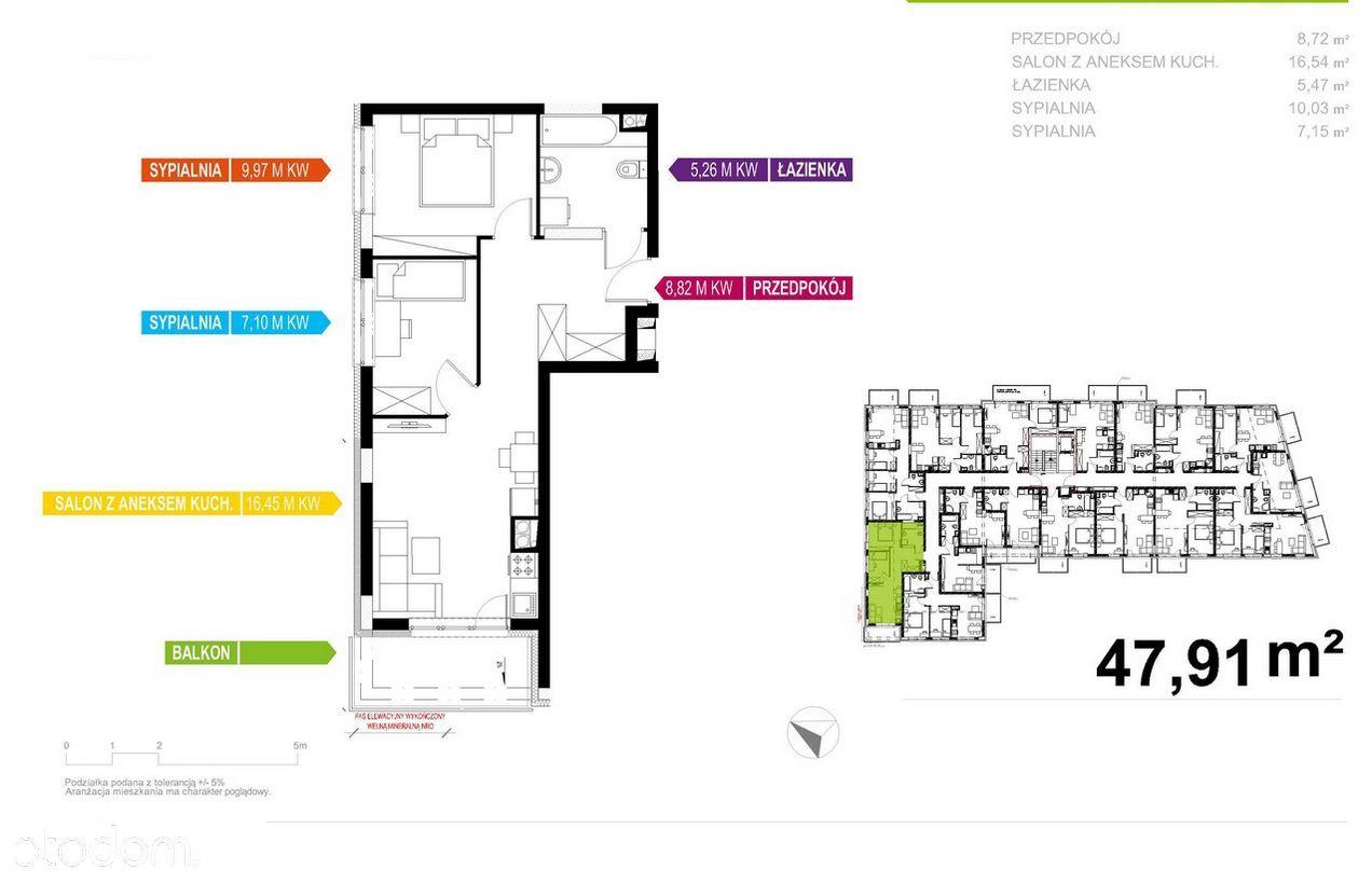 Apartament 48m2, 3 pokoje, Prestiżowe Osiedle!