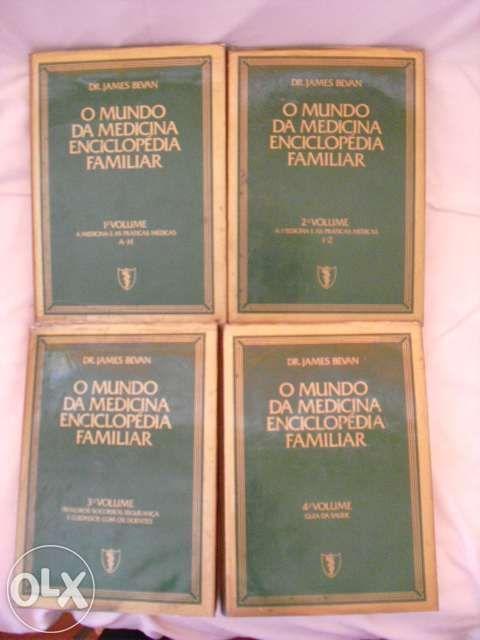 """4 Livros antigos """"O Mundo da Medicina Enciclopédia Familiar"""""""