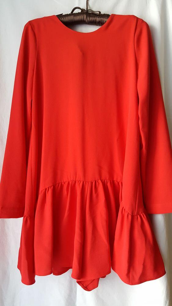 czerwona sukienka-kombinezon zara