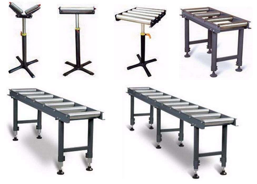 Mesas Bancadas e Cavaletes de Rolos para apoio a serrotes de fita