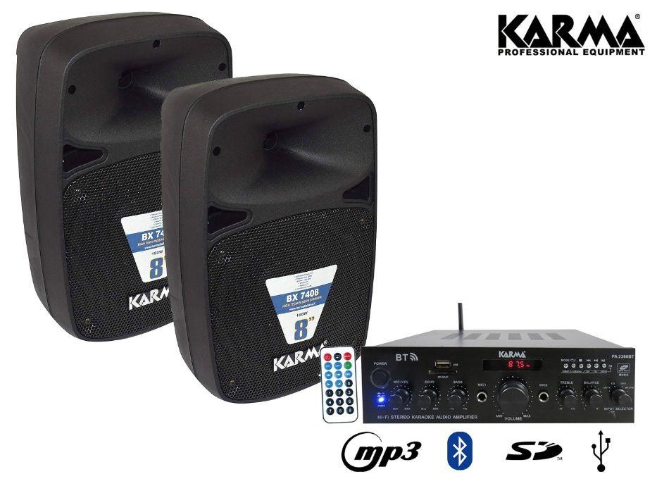 Kit Karaoke colunas som + amplificador KARMA - bluetooth/FM/USB/MP3