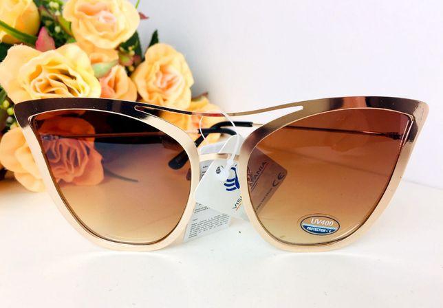 50% okulary przeciwsłoneczne damskie aviator pilotki brązowe