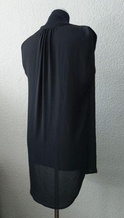 H&M czarna koszula bluzka mgiełka bez rękawów długa