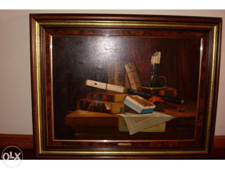 Quadro antigo a óleo do pintor Teixeira Cardoso