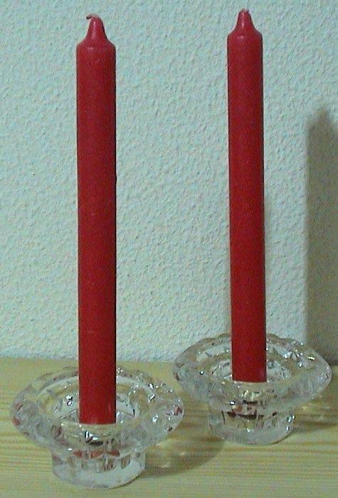2 CASTIÇAIS EM Vidro, com VELAS Vermelhas - ANOS 80