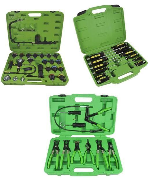 Kit Teste Pressão + Chaves Fenda Impacto + Alicates Abraçadeiras
