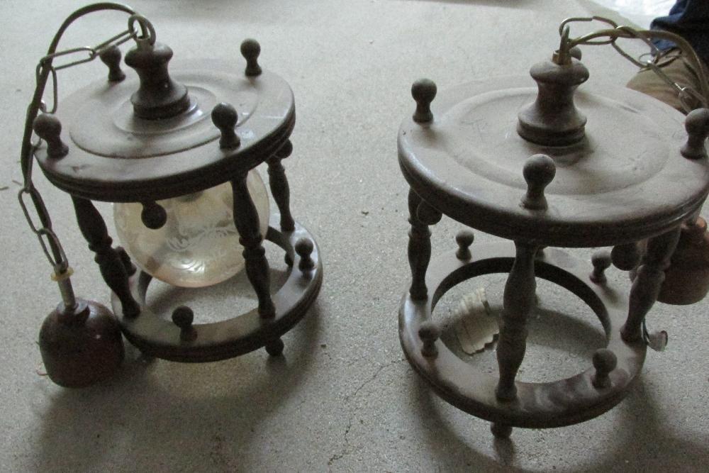 Candeeiro tecto em madeira/vidro Porto de Mós - imagem 2