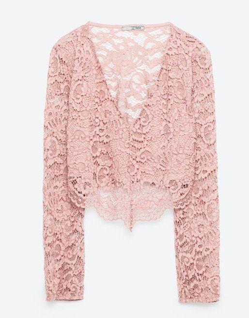 Crop top renda rosa Zara