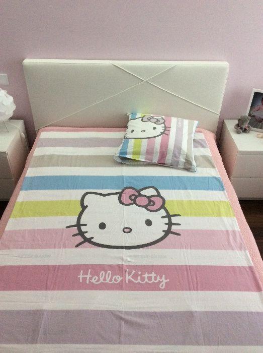 70a626f33d91c6 Conjunto capa de edredon Hello Kitty + base colchão + fronha ...