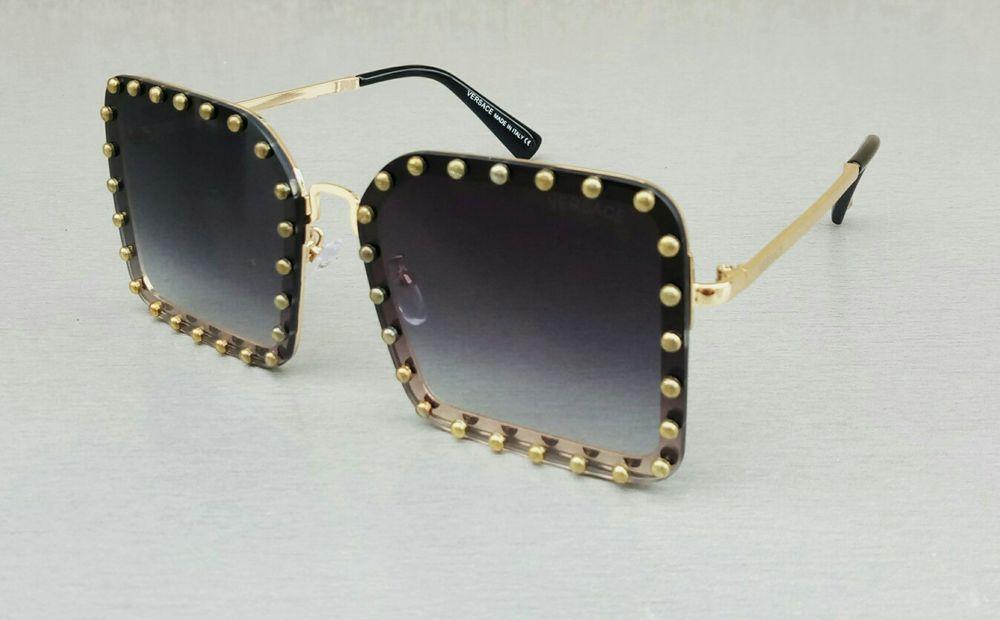 Versace очки женские солнцезащитные большие прямоугольные черные с золотом