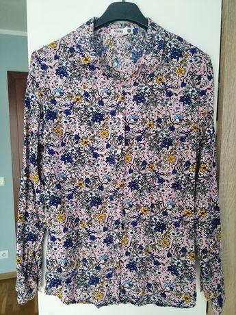Koszula na ramiączkach w kwiaty Sinsay niebieska