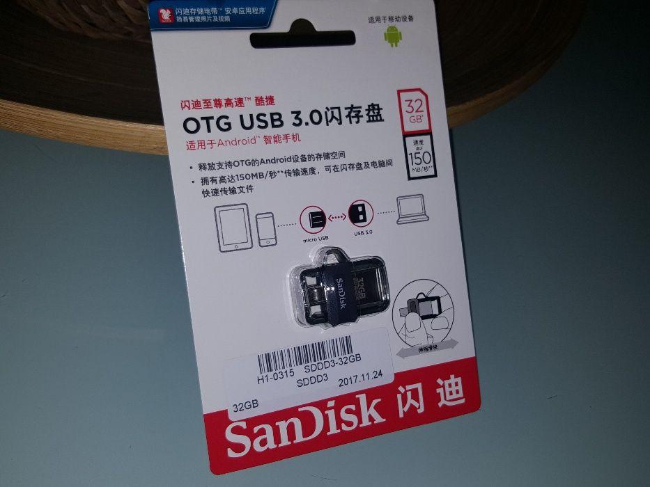 NOVA - Pen Drive Alta Velocidade, 32GB, USB/Micro, Muito Barata