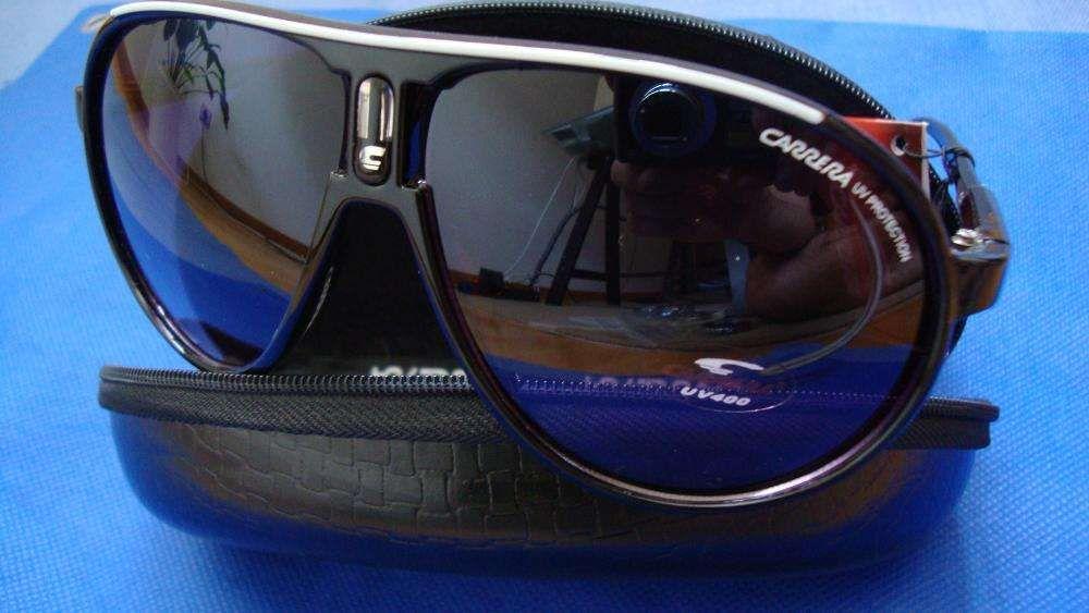 e2fe042b047a7 Óculos Carrera Champion preto brilhante com risca Branca