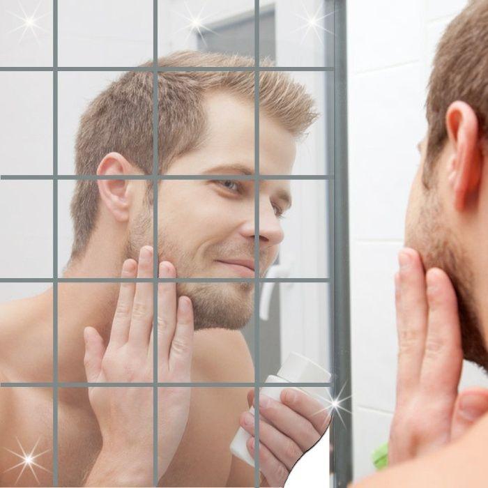 Adesivo de Parede Decalque 3D Mosaico Quadrado Espelho