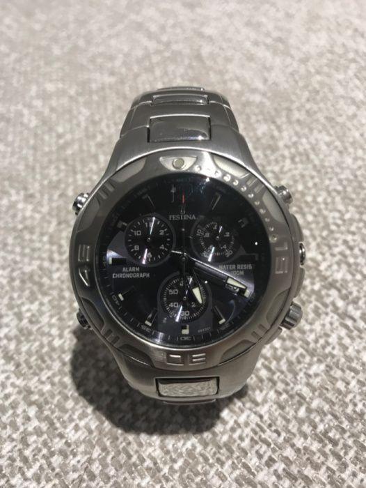 b19cc27c1d8 Relógio FESTINA Cronógrafo Aço Inox Quartzo Mostrador Azul - Ramalde -  Excelente relógio