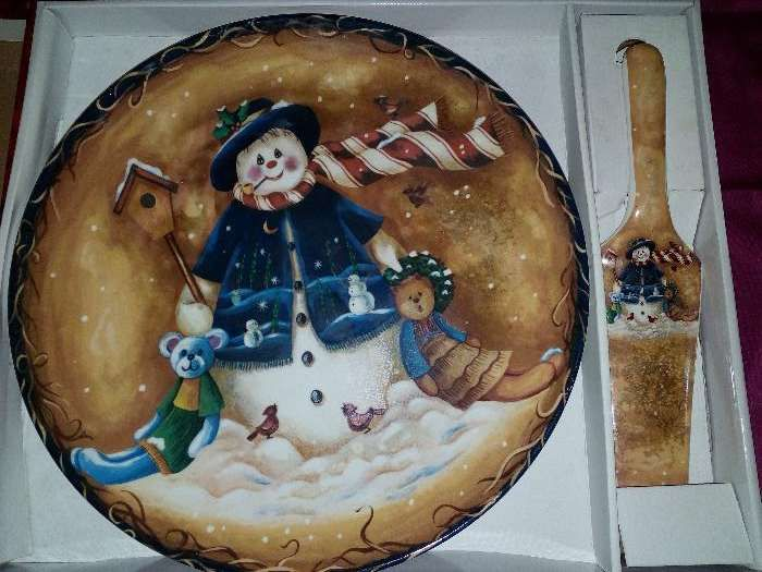 Prato Bolo Decorativo Ceramica 32cm.