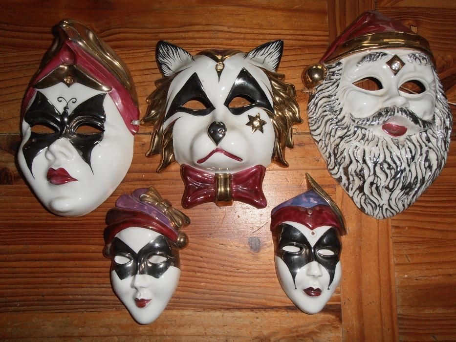 5 máscaras de porcelana, 12,18,21 cm
