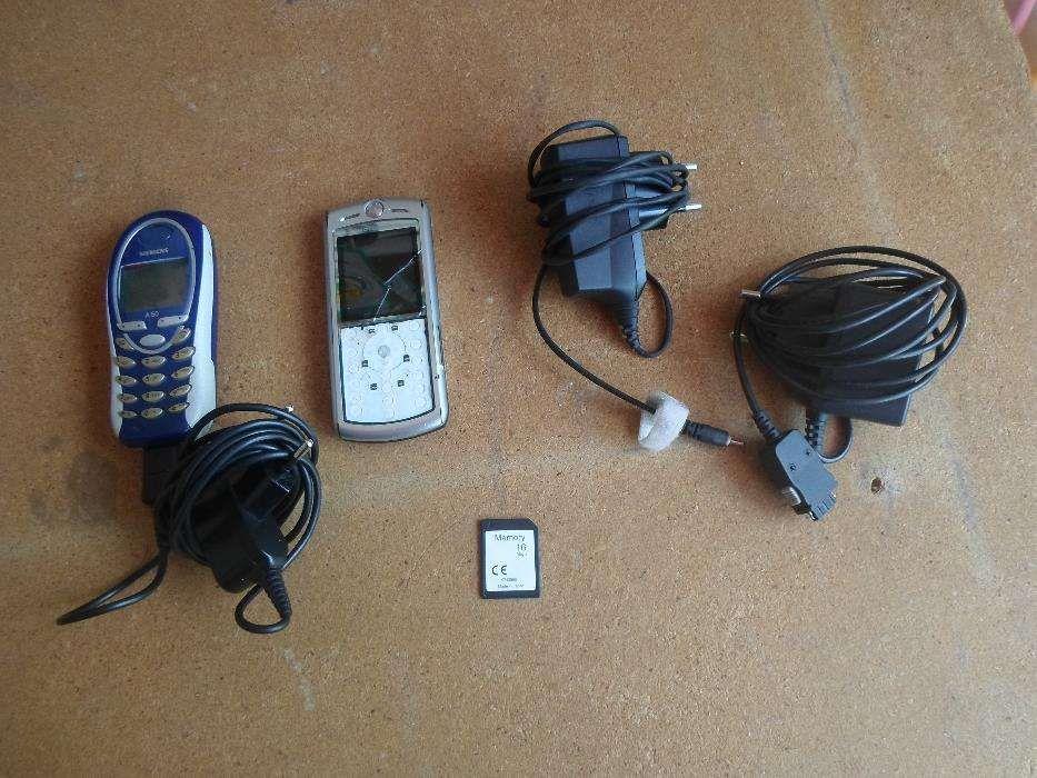 2 telemoveis + 3 carregadores + 1 cartao de memoria