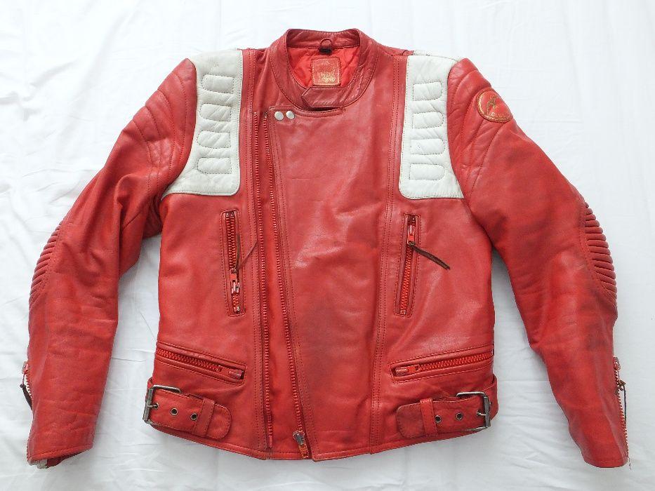 czerwona kurtka motocyklowa skórzana retro