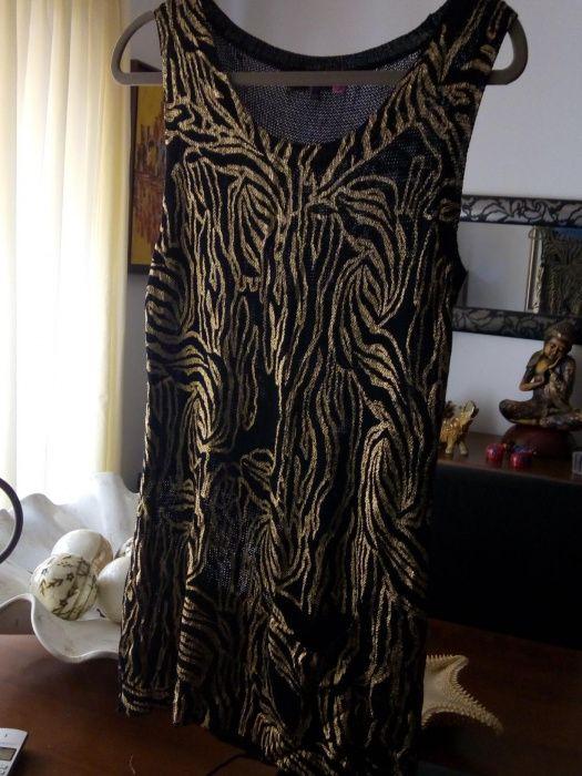 Camisola em malha dourada e preta LXL