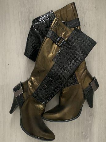 Nowe botki guess kowbojki 37 z ćwiekami złote logo czarne