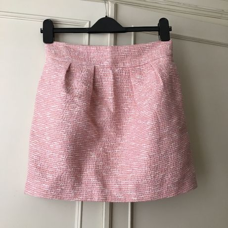 Zara tweedowa dzianinowa spódnica spódniczka koraliki perły