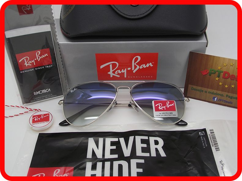 STOCK - Oculos Sol Ray Ban Aviator RB 3025 - Azuis Gradiente 8612be7b81