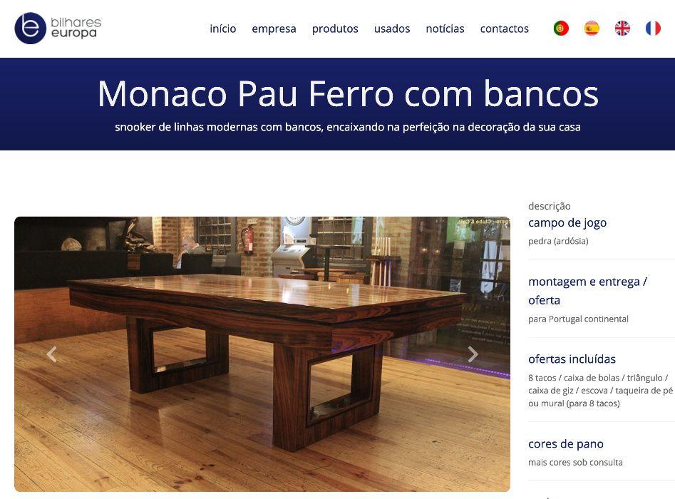 BilharesEuropa fabricante mod Monaco novo oferta tampo jantar