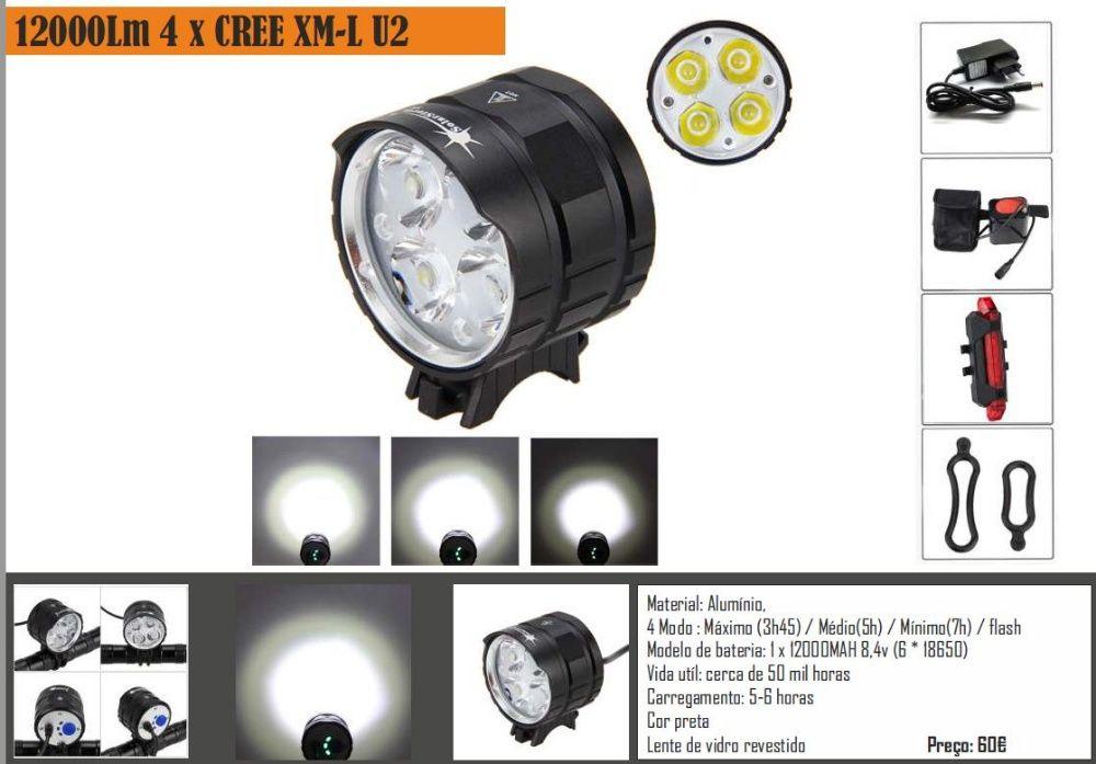 Luz BTT CREE 4xLeds 13000 lm + bateria 12000mAh (6 meses garantia)