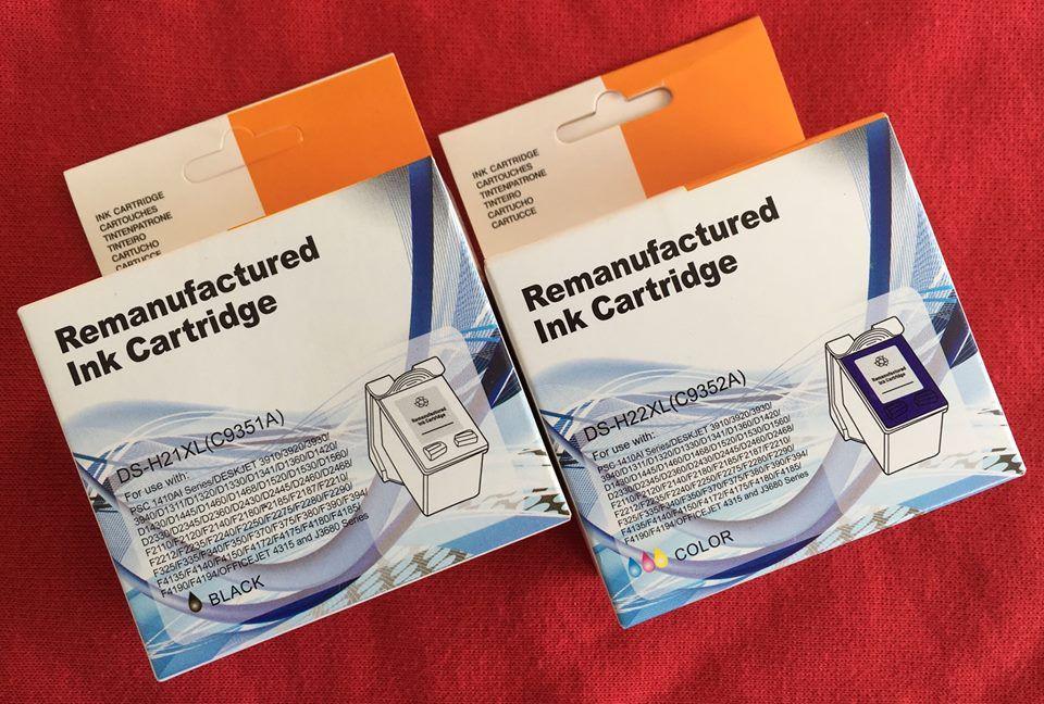 Pack Tinteiros Compatíveis HP 21XL Preto + 22XL Tricolor