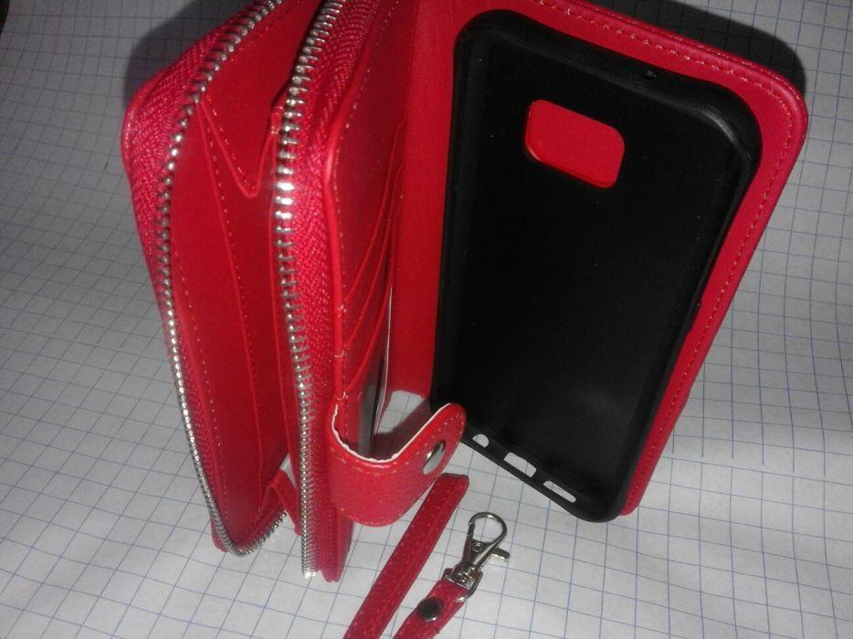Bolsa / capa samsung s7 edge porta moedas pele vermelha - NOVA