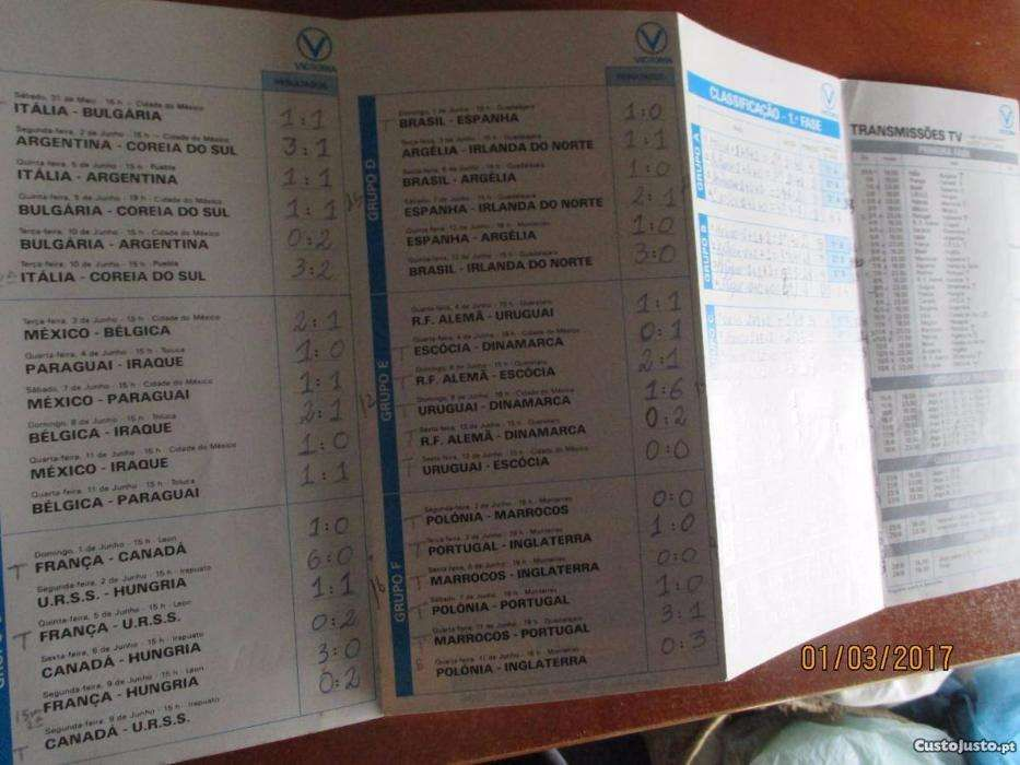 Calendário das transm.TV do Camp. Mundial futebol do México Pinhal Novo - imagem 3