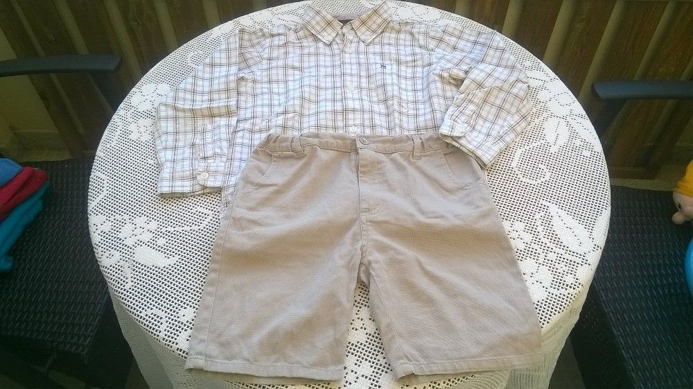 Camisa e calções de sarja 4-6 anos. Envio por correio.
