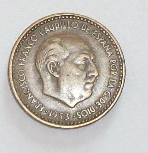 Moeda rara de una peseta de 1953 con Caudillo