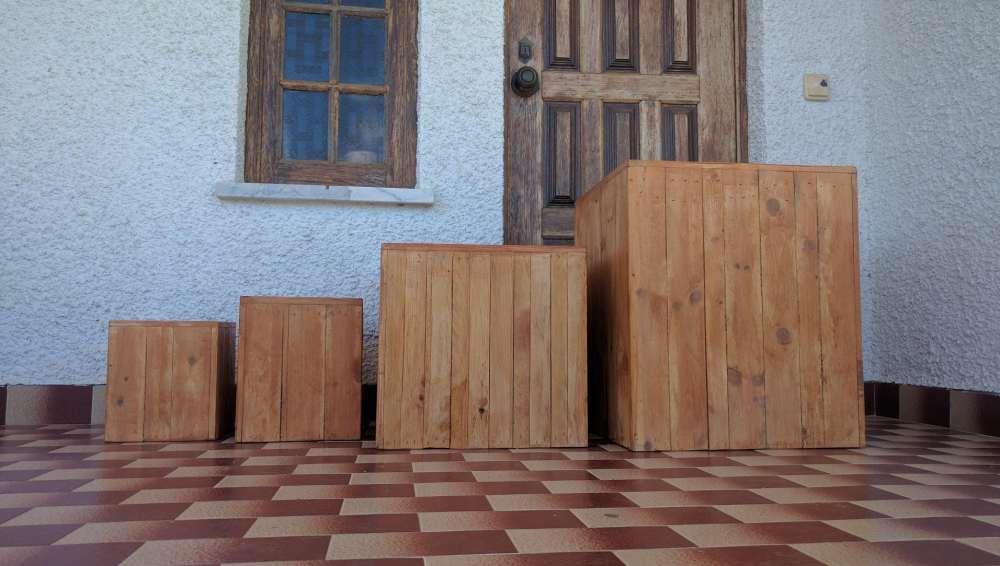 Vasos em madeira palete