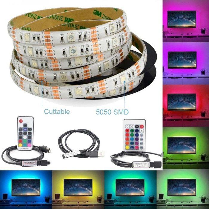 Fita led RGB Usb 5v 3 metros + comando wifi