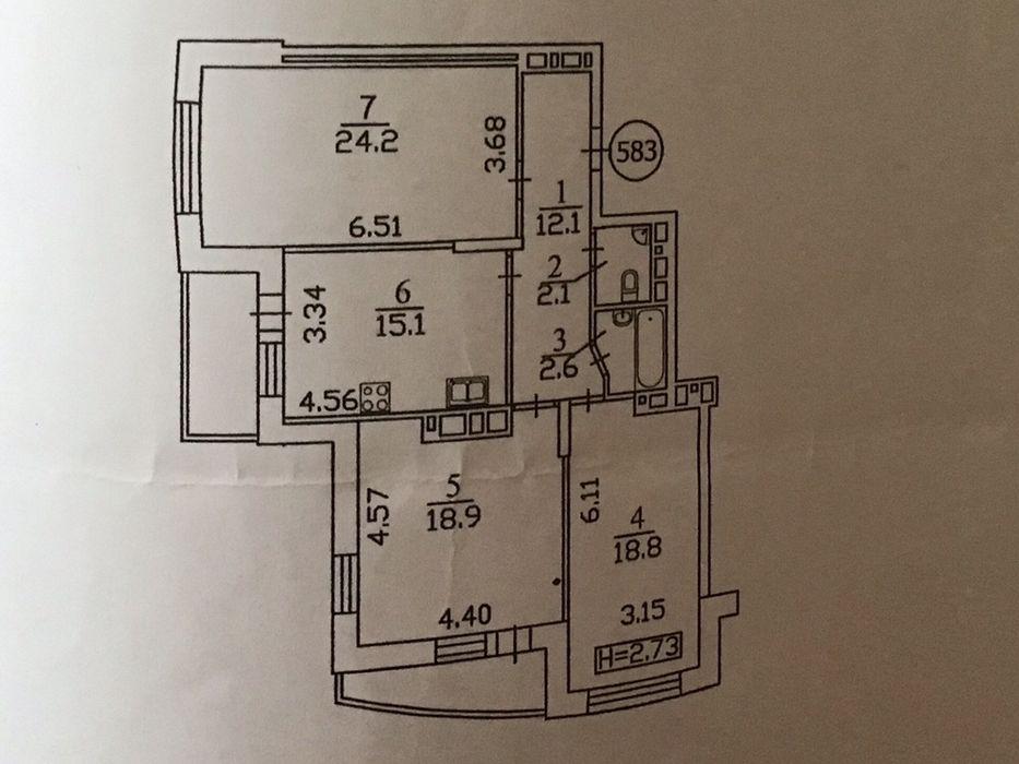 Сдам 3 комнатную квартиру Голосеевская,13б (собственник)