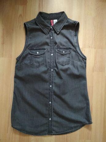 Archiwalne: Koszula dżinsowa bez rękawów H&M rozmiar 34  muhb4