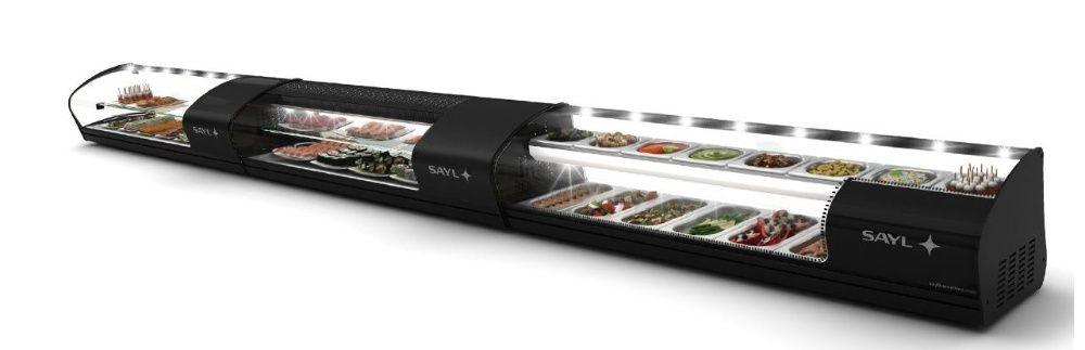 vitrina dupla de balcão refrigerado para sushi