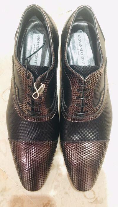Giovanni Conti sapatos castanhos pele trabalhada 45 Parque