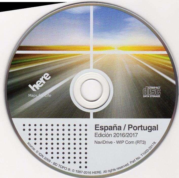 CD GPS Peugeot-Citroen RT3/RT4/RT5 2016/2017 Portugal+Espanha NAVTEQ