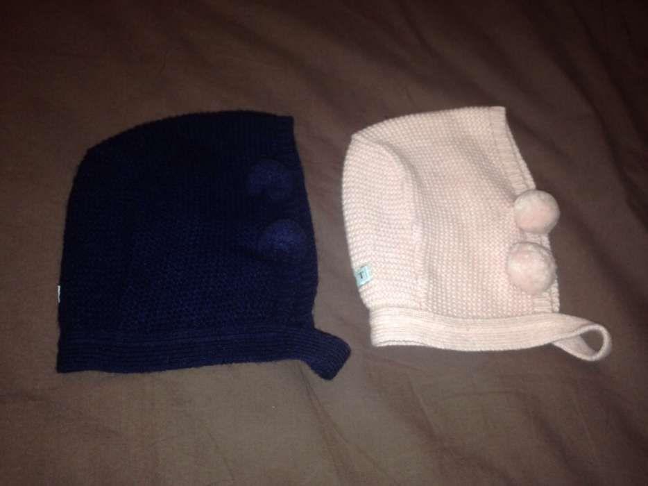 Gorro touca em lã com pompons azul e rosa 6 12meses - DOT ff4d5bc3128
