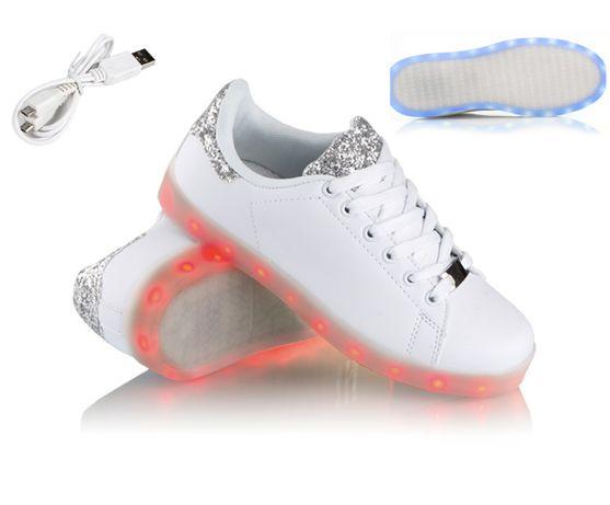 Buty świecące LED High Force Białe Ledowe Podświetlane