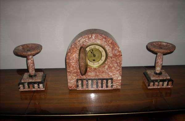 Relógio Guarnição de Lareira e par de castiçais